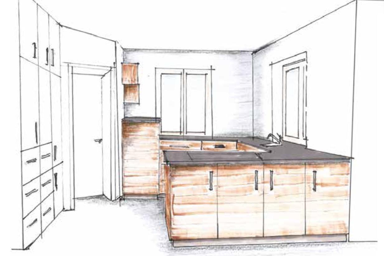Massivholzküche Skizze